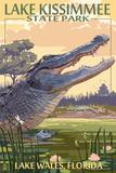 Lake Wales, Florida - Alligator Scene Kunstdrucke von  Lantern Press