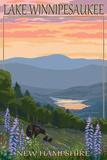 Lake Winnipesaukee, New Hampshire - Bears and Spring Flowers Print by  Lantern Press