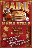 Maine - Maple Syrup Vintage Sign Kunstdrucke von  Lantern Press