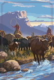 Cowboy Cattle Drive Scene Plakater af  Lantern Press