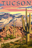 Tucson, Arizona Sunset Desert Scene Kunstdrucke von  Lantern Press