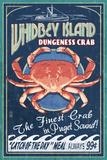 Whidbey Island, Washington - Dungeness Crab Vintage Sign Plakater af  Lantern Press