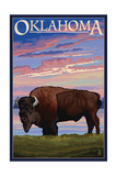 Oklahoma - Buffalo and Sunset Posters af  Lantern Press