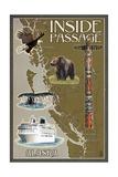 Alaska's Inside Passage Map Plakater av  Lantern Press