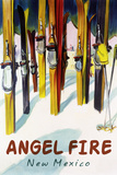 Angel Fire, New Mexico - Colorful Skis Print by  Lantern Press