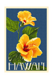 Hawaii - Yellow Hibiscus Flower Plakat av  Lantern Press