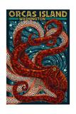 Orcas Island, Washington - Octopus Mosaic Kunstdruck von  Lantern Press