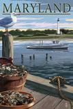 Maryland - Blue Crab and Oysters on Dock Poster af  Lantern Press