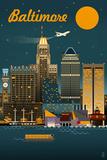 Baltimore, Maryland - Retro Skyline Pôsteres por  Lantern Press