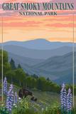 Bears and Spring Flowers - Great Smoky Mountains National Park, TN Arte por  Lantern Press
