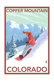Copper Mountain, Colorado - Downhill Snowboarder Premium Giclee Print by  Lantern Press