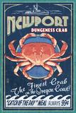 Newport, Oregon - Dungeness Crab Vintage Sign Láminas por  Lantern Press
