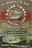 St. Augustine, Florida - Alligator Tours Vintage Sign Poster af  Lantern Press