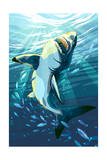 Stylized Great White Shark Posters af  Lantern Press
