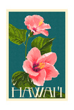 Hawaii - Pink Hibiscus Flower Poster av  Lantern Press