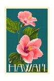 Hawaii - Pink Hibiscus Flower 高品質プリント : ランターン・プレス