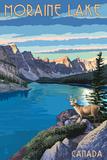 Banff, Alberta, Canada - Moraine Lake Poster af  Lantern Press