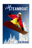 Steamboat, Colorado - Snowboarder Plakater av  Lantern Press