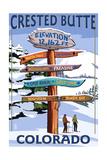 Crested Butte, Colorado - Ski Run Signpost Poster by  Lantern Press