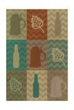 Beer Icons - Chevron Strips Plakat af  Lantern Press