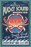 Puget Sound, Washington - Dungeness Crab Vintage Sign Poster by  Lantern Press