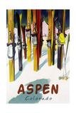 Aspen, CO - Colorful Skis Plakat av  Lantern Press