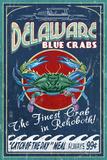 Rehoboth, Delaware - Blue Crabs Vintage Sign Poster von  Lantern Press