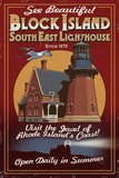 Block Island, Rhode Island - Lighthouse Vintage Sign Art par  Lantern Press