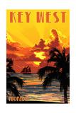 Key West, Florida - Sunset and Ship Art by  Lantern Press