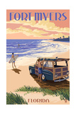 Fort Myers, Florida - Woody on the Beach Art by  Lantern Press