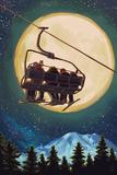 Ski Lift and Full Moon Art by  Lantern Press