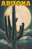 Arizona Cactus and Full Moon Prints by  Lantern Press
