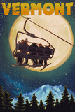 Vermont - Ski Lift and Full Moon Posters by  Lantern Press