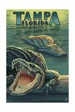 Tampa, Florida - Alligators 高品質プリント : ランターン・プレス