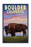 Boulder, Colorado - Bison and Sunset Posters af  Lantern Press