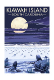 Kiawah Island, South Carolina - Sea Turtles Hatching Poster von  Lantern Press