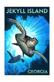 Jekyll Island, Georgia - Sea Turtle Diving Poster by  Lantern Press