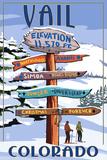 Vail, Colorado - Ski Signpost Kunstdruck von  Lantern Press