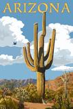 Arizona - Saguaro and Roadrunner Print by  Lantern Press