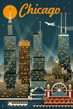 Chicago Illinois - Retro Skyline ポスター : ランターン・プレス