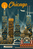 Chicago Illinois - Retro Skyline Art by  Lantern Press