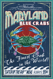 Maryland - Blue Crabs Vintage Sign Láminas por  Lantern Press