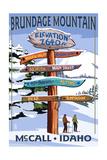 Brundage Mountain, McCall, Idaho - Ski Destination Signpost Lámina giclée prémium por  Lantern Press