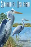 Blue Heron - Sanibel Island, Florida Affiche par  Lantern Press