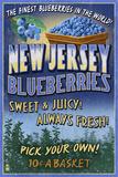 New Jersey - Blueberry Farm Vintage Sign Posters tekijänä  Lantern Press