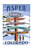Aspen, Colorado - Ski Signpost Affiche par  Lantern Press