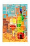 Wine Bottle and Glass Geometric Láminas por  Lantern Press