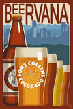 Fort Collins, Colorado - Beervana Vintage Sign Premium Giclée-tryk af  Lantern Press
