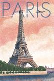 Paris, France - Eiffel Tower and River - Lithograph Style Kunst von  Lantern Press