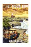 Half Moon Bay, California - Woody and Lighthouse Print by  Lantern Press